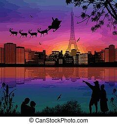 cidade, claus, pessoas, paris, sobre, voando, deers, silhuetas, santa, noturna