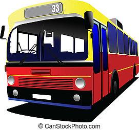 cidade, coach., vetorial, bus., illustratio