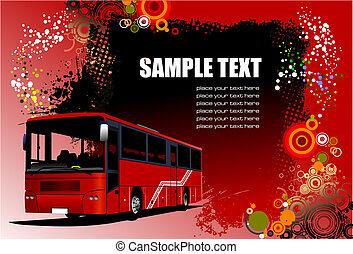 cidade, coach., vetorial, bus., ilustração
