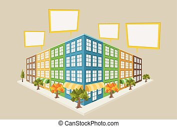 cidade, coloridos, bloco