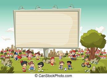 cidade, coloridos, playing., grande, parque, caricatura,...
