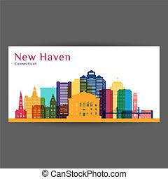 cidade, coloridos, silhouette., arquitetura, skyline., new haven