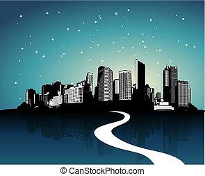 cidade, com, reflexão., vetorial, arte