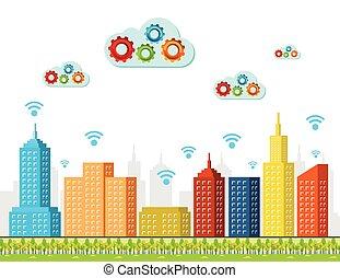 cidade, computando, concept., nuvem, services., esperto