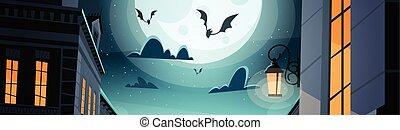 cidade, conceito, céu, dia das bruxas, morcegos, noturna, partido, feliz, celebração