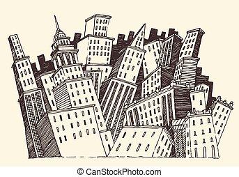 cidade, conceito, grande, vetorial, arquitetura, gravado