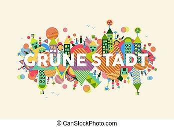 cidade, conceito, língua, alemão, ilustração, verde