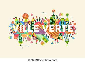 cidade, conceito, língua, francês, verde, ilustração