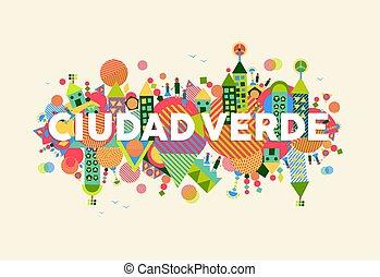 cidade, conceito, língua, ilustração, verde, espanhol