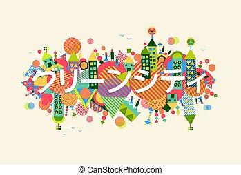 cidade, conceito, língua, japoneses, ilustração, verde