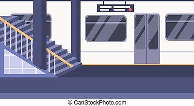 cidade, conceito, pessoas, não, vazio, apartamento, plataforma, trem, metrô, subterrâneo, estação, estrada ferro, horizontais, transporte