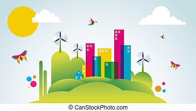 cidade, conceito, primavera, ilustração, verde, tempo