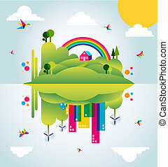 cidade, conceito, primavera, ilustração, verde, tempo, feliz