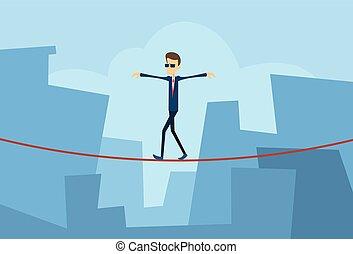 cidade, conceito, risco, negócio, grande, sobre, lacuna, equilibrar, fundo, homem negócios, problema, homem caminhada