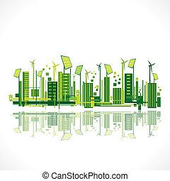 cidade, conceito, terra verde, salvar, ou