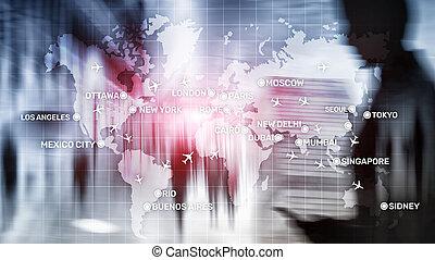 cidade, conceito, transporte, negócio, abstratos, global, map., nomes, fundo, aviões, aviação, viagem