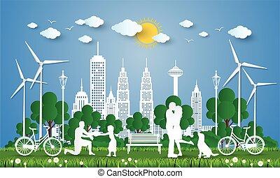 cidade, conceito, verde, concept., ilustração, vetorial, ir