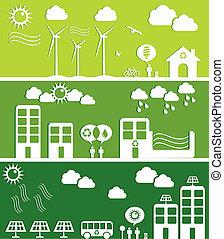 cidade, conceito, verde, ilustração