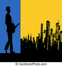 cidade, concerto, grande, guitarra, vetorial, voador,...