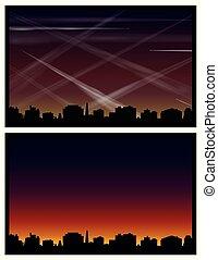 cidade, contrails, ar, skyline, poluição
