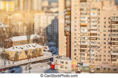 cidade, contrast., arquitetônico, inverno
