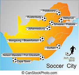 cidade, copo, áfrica, mundo, futebol, 2010, sul