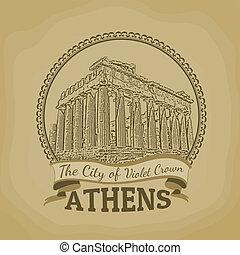 cidade,  ),  (, coroa, Atenas, cartaz, violeta