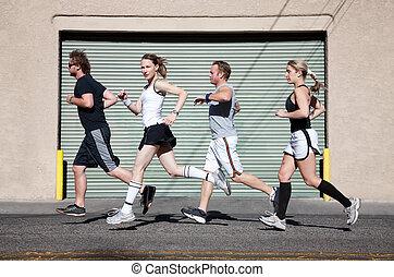 cidade, corridas, foursome, exercise.