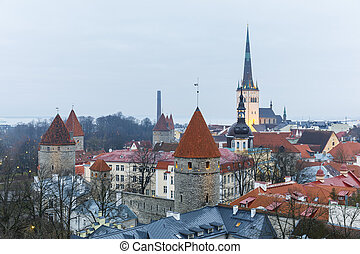 cidade, cortina, torres, parede, tallinn, antigas