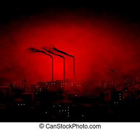cidade, crepúsculo, fábrica