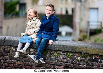 cidade, crianças, ao ar livre