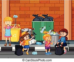 cidade, crianças, cima, oferecer-se, limpeza
