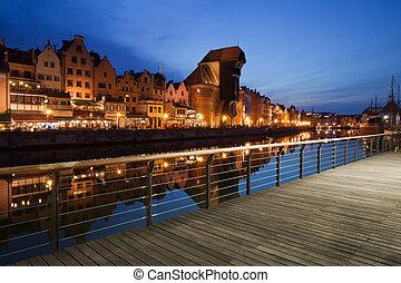 cidade, de, gdansk, à noite, em, polônia