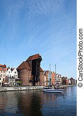 cidade, de, gdansk, cidade velha, rio, vista
