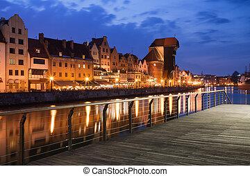 cidade, de, gdansk, cidade velha, skyline, à noite