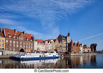 cidade, de, gdansk, cidade velha, skyline, em, polônia