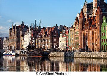 cidade, de, gdansk, cidade velha, skyline