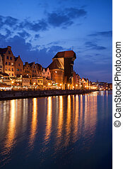 cidade, de, gdansk, cidade velha, skyline, por, noturna