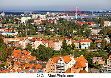 cidade, de, gdansk, cityscape, em, polônia