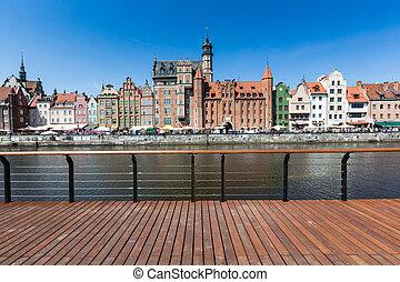 cidade, de, gdansk, (danzig), poland., vista panoramic, de,...
