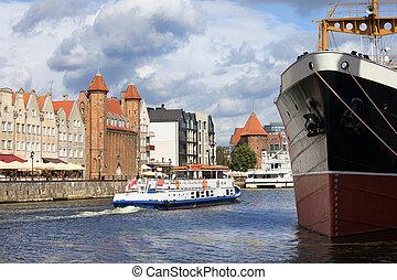 cidade, de, gdansk, em, polônia