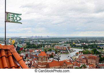 cidade, de, gdansk, em, polônia, vista aérea, sobre, a,...