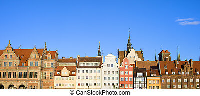 cidade, de, gdansk, panorama