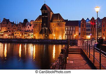 cidade, de, gdansk, por, noite, polônia