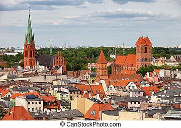 cidade, de, torun, cityscape, em, polônia