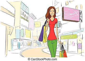 cidade, desenhar, shopping mulher, esboço, rua