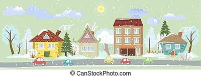 cidade, desenho, bandeira, inverno, seu