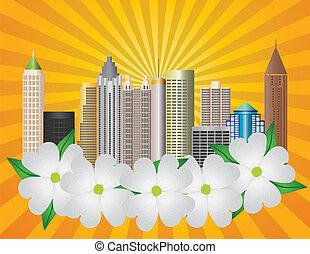 cidade, dogwood, geórgia, atlanta, ilustração, skyline