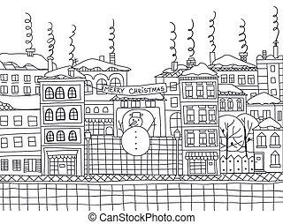 cidade, doodle, inverno