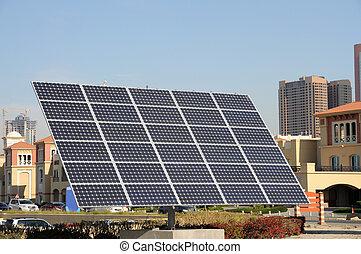 cidade, dubai, painel solar